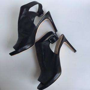 Via Spiga Black Peep Toe Heels Sz 9.5